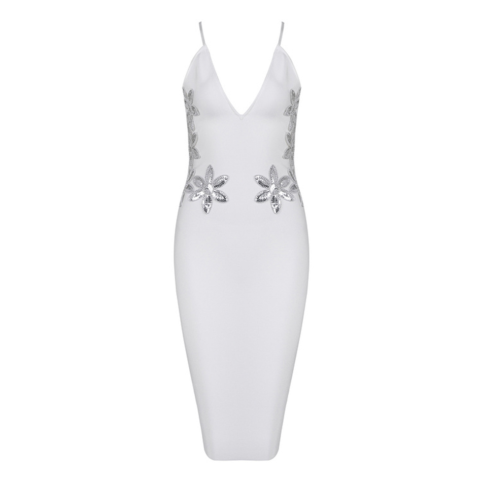 Seamyla 2018 Newest Summer White Dress Women Evening Party Dress Clubwear  Sexy Vestidos Bodycon Bandage Dresses Sequins Dress-in Dresses from Women s  ... d6fb2c56969a3