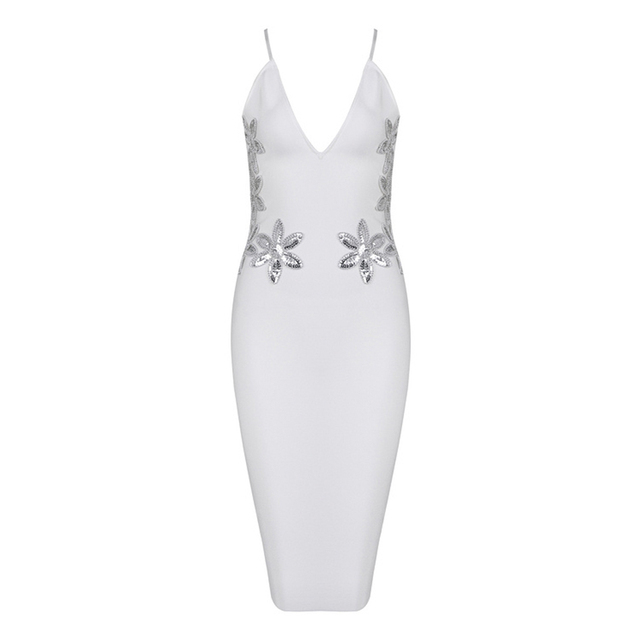 Newest Summer White Dress Women Evening Party Dress Clubwear Sexy Vestidos Bodycon Bandage Dresses Sequins Dress