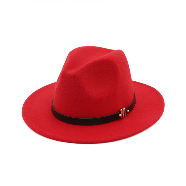 b0cdae9e868 2017 Winter Elegant Women Felt Solid Fedora Hat With Belt Fashion Wide Flat  Brim Jazz Hats