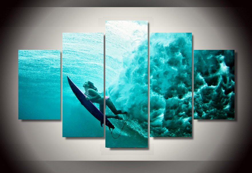 Brand-new 5 Piece canvas art HD new Surfing Underwater Group canvas painting  OZ14