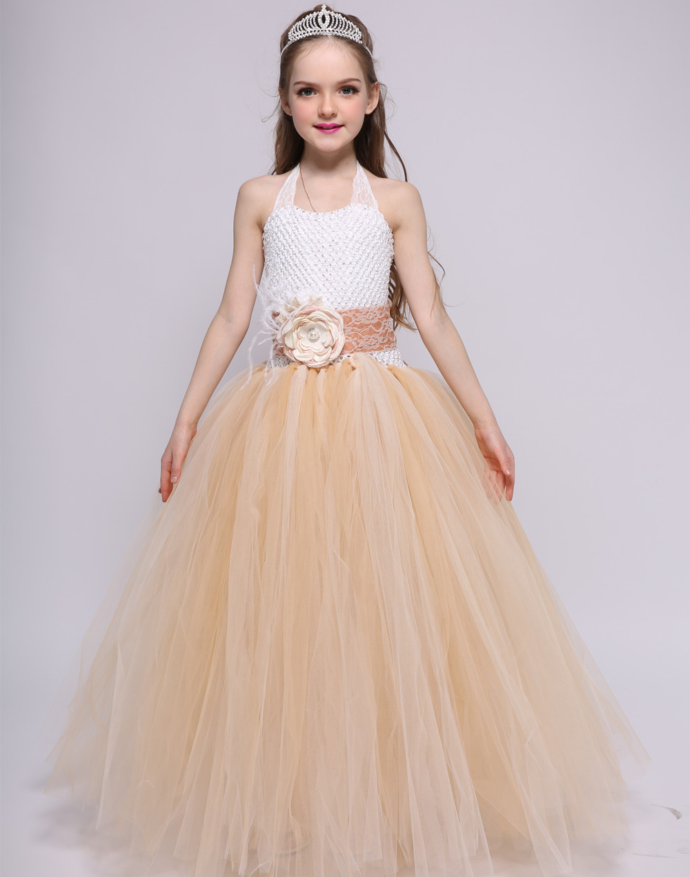 Christmas Dresses for Girs Chic Flower Girl Dress Kids Baby Tutu Princess Dress Carnival Party Wedding Pageant Tulle Tutu Dress