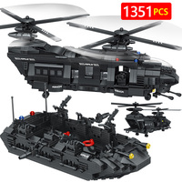 New Technic Compatible legoingly Swat Team City Police Transport Helicopter Large Building Blocks Sets Gift Toys For kids