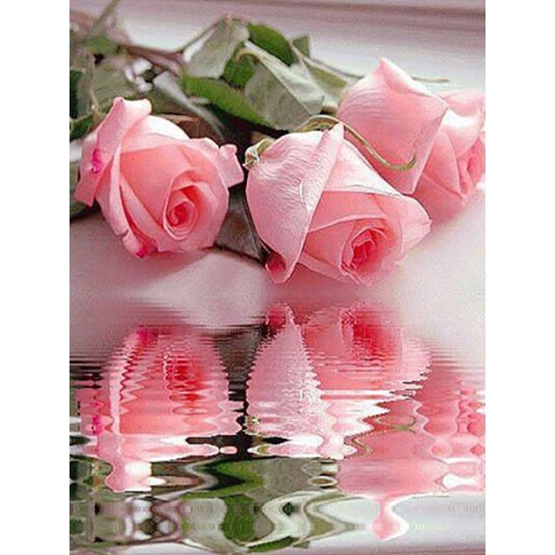 Hand voll Stickerei Malerei Kreuzstich Blume diy Diamant Malerei Kits Kristall Quadrat Diamant Rose ZX