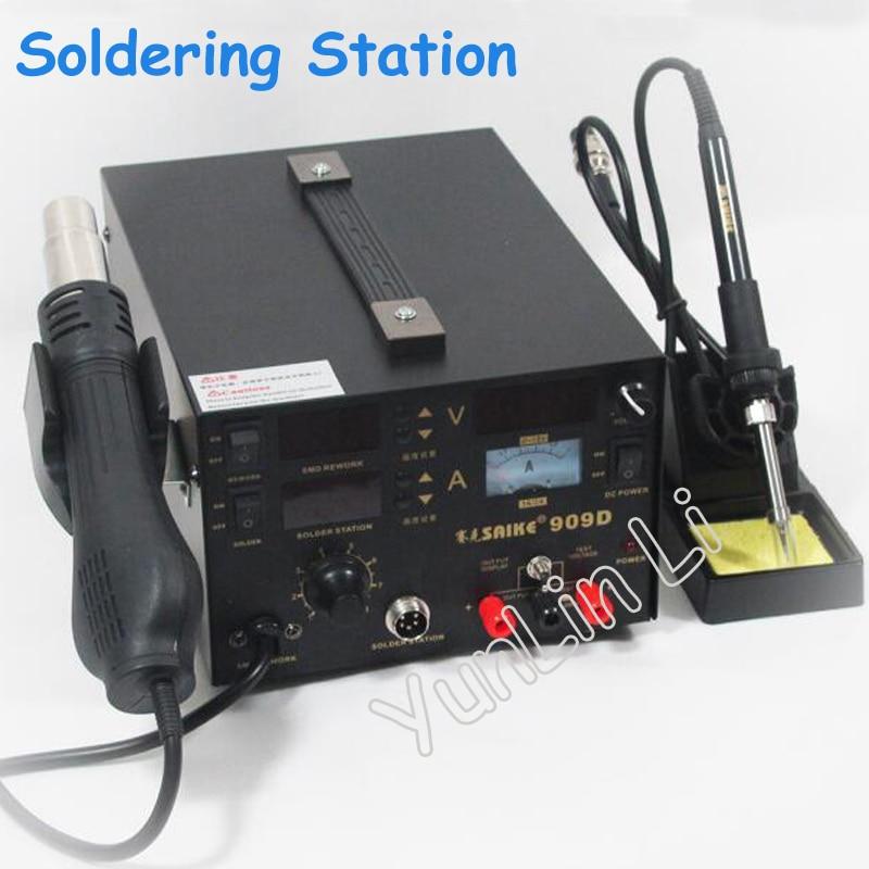 цена на 220V/110V SAIKE 909D Hot Air Gun Rework Station Soldering Station 3 in 1 Soldering Iron + Hot Air Gun + Power Supply