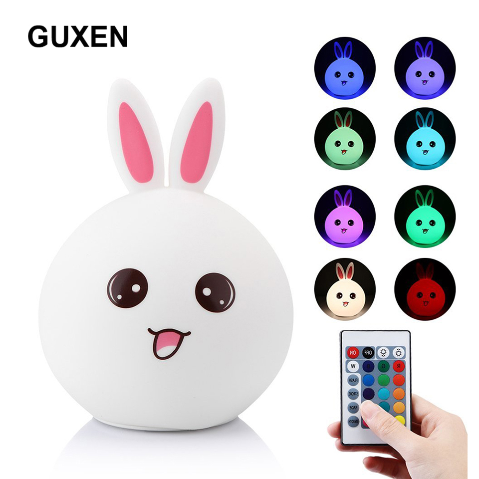 Guxen Rabbit LED Night Light For Children Baby Kids Bedside Lamp Multicolor Silicone Touch Sensor Tap Control Nightlight