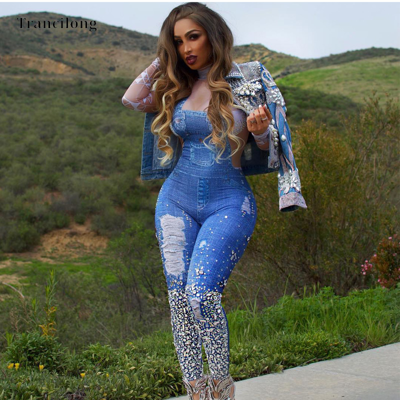 Trancilong Fashion Denim Jumpsuit Female High Collar Long Sleeves Tight Blue Printed Trousers Casual