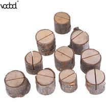 ФОТО /lot Wood Card Holder Place Stand Stump Shape Photo Desk Menu Clip Wooden Party Number Wedding Decoration Stand