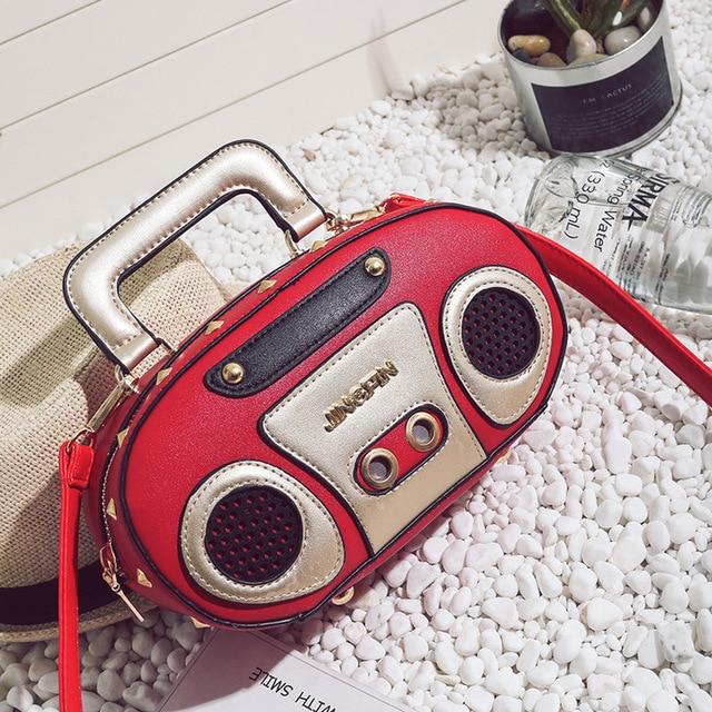 2802153fd9b US $14.95 37% OFF|2017 Personality Retro Radio Shape Bag Ladies Cute  Handbag Shoulder Bag Messenger Bag Rock Crossbody Bag-in Top-Handle Bags  from ...