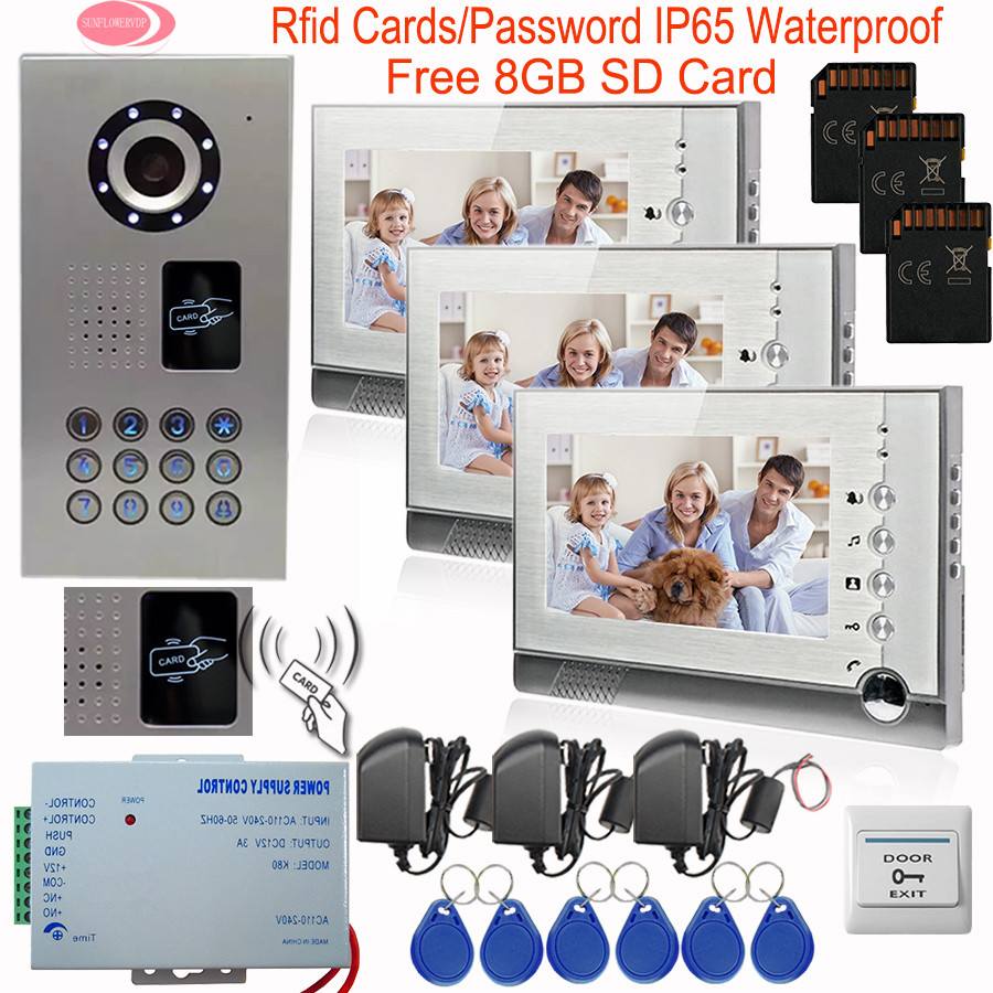 Video Intercom With Recording 8GD SD Card Outdoor Camera IP65 Waterproof Inductive Card 7Inch Color Video