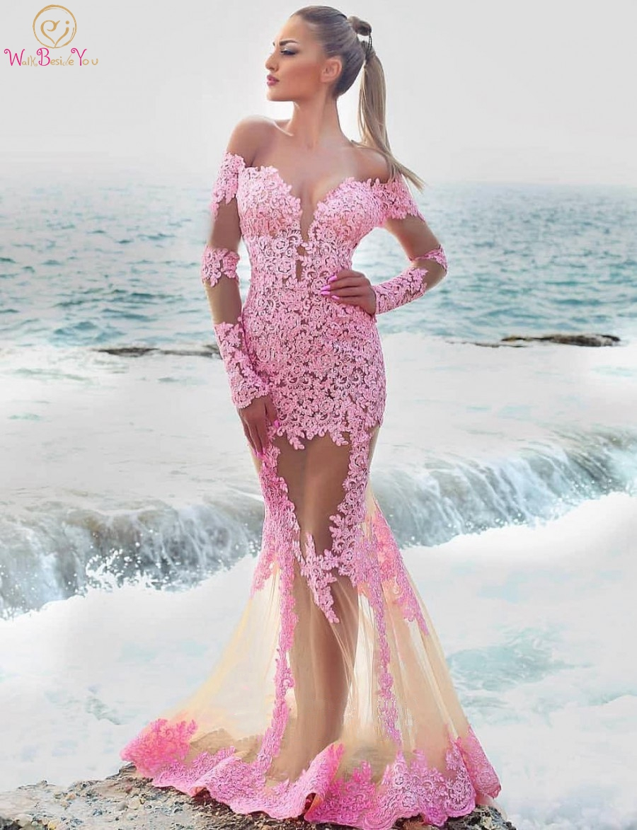 Pink Lace Prom Dresses Long Sexy 2019 Sheer Neck Full Sleeve Mermaid Trumpet Champagne Tulle Evening Gown Formal Walk Beside You