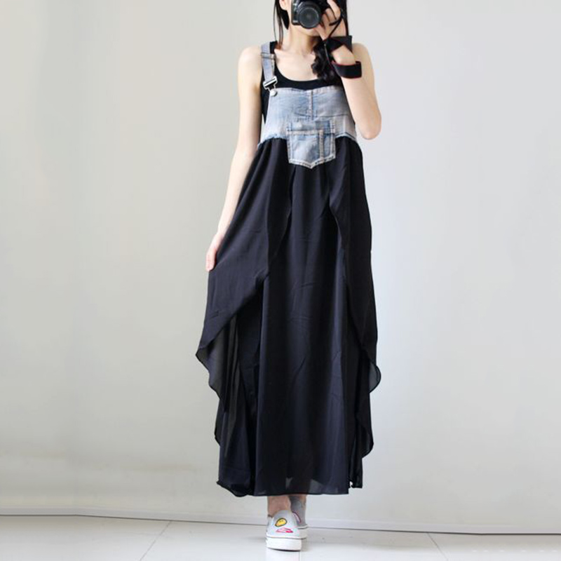 Summer Womens Spaghetti Strap Dress Casual Denim Splice Chiffon Patchwork Ankle Length New Fashion Multi-layer Hem Maxi Dress