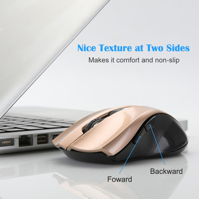 T-WOLF Q5 2.4GHz Wireless Silent Computer Mouse 1800DPI Adjustable Ergonomic Mice Good Cordless Optical PC Laptop Gaming Mouse