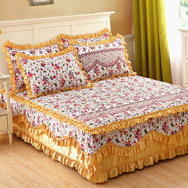 Bed Sheet Set With Two Pillowcase Bedding Super King Cotton Padded Lace Skirt Mattress Cover Quilted Bedspread 45 In Sets From Home