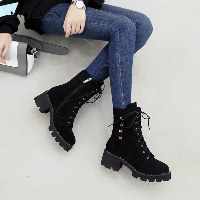 Leather Mode Leder Kurze Stiefeletten black Heels Zipper Plattform Block Kappe Cowhide High Aus Stiefel 2018 Neue Black Winter Matte Schuhe Echtem Frauen Runde Mnixuan F417nn