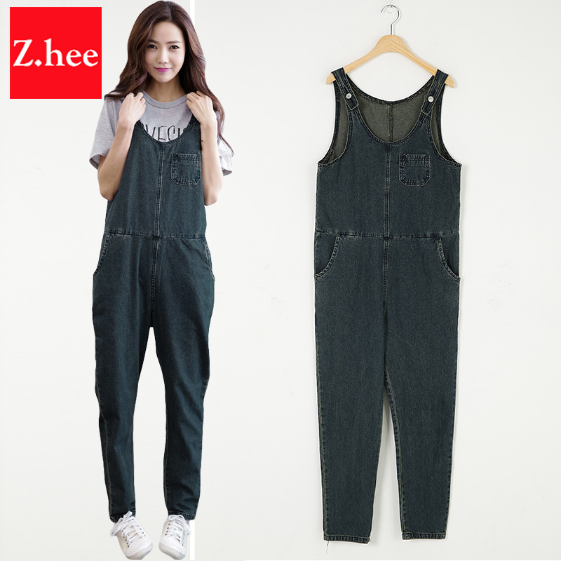 9fa2fc062e4 Loose Thin tank tops Denim Overalls for women Jumpsuit Harem Jeans with  high waist Female Overalls For Women Rompers large Size-in Jumpsuits from  Women s ...