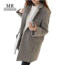 Mainroles большой Размеры пальто 2XL Для женщин манто Femme 2017 Для женщин зимнее пальто одноцветное Цвет грубой пальто Тонкий теплый женский пальто