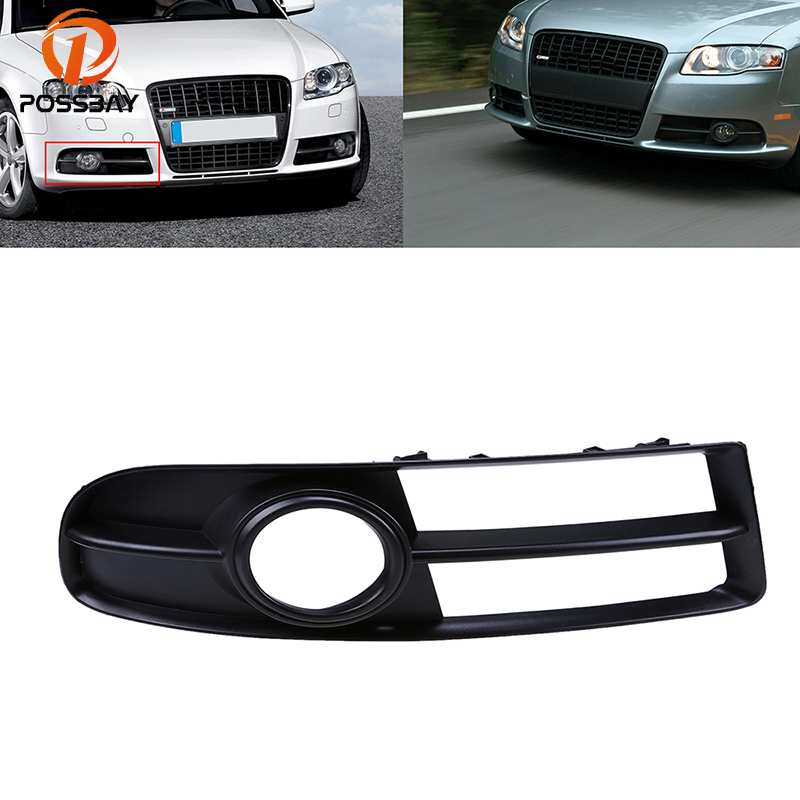 POSSBAY 1 Pcs Right Side <font><b>Grilles</b></font> Fog Light Cover Sport Style Fit for <font><b>Audi</b></font> <font><b>A4</b></font> <font><b>B7</b></font> Sedan/Avant/Cabriolet 2005/2006/2007/2008/2009 image