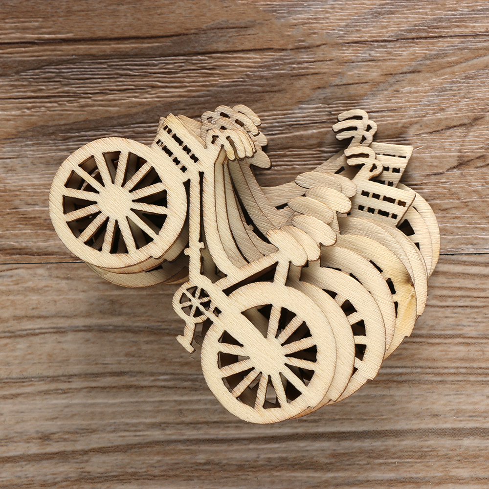 10pcs //Pack Handmade Wooden Cut Bicycle Pieces Embellishment Decoration