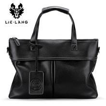 Simple Men Briefcase Business Bag Black PU Leather Shoulder Bags for Men Fashion Tote Bags Travel Handbags Male Bags Large(China)