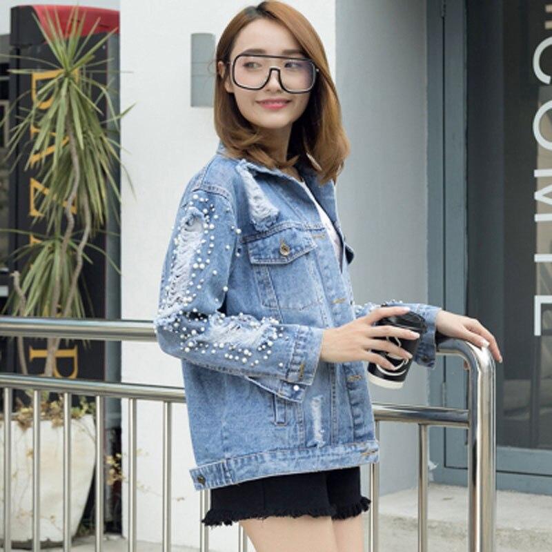 Streetwear Lâche Trou D0914 Corée Veste Petit Perles Jeans 2018 Fashionjeans Denim Ami Automne Bleu Femmes LUpSjzVqGM