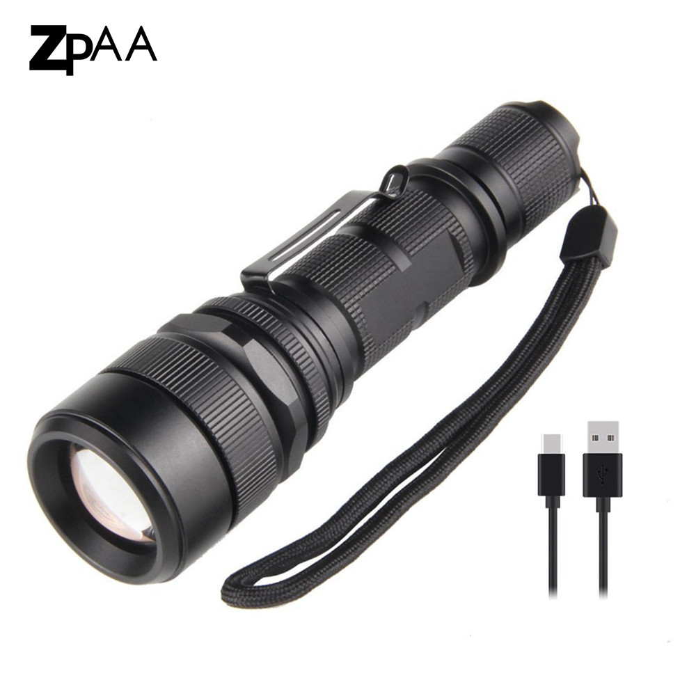 ZPAA USB Flashlight XML L2 Powerful LED Flashlight Torch Zoomable Ultra Bright Tactical Torch Waterproof Huting Flash Light usb led flashlight torch 26650 rechargeable xml l2 red green blue led light flashlight led torch ultra bright self defense