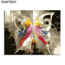 PAINTBOY Framed DIY Digital Oil Painting By Numbers Of Butterfly Painting&Calligraphy Home Decor For Living Room Wall Art(China)