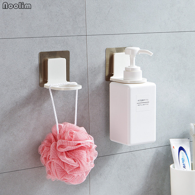 Noolim 2pc Rustproof Bathroom Wall Mounted Magic Sticky Shampoo Organizer Hook Repeat Use Shower Hand Soap