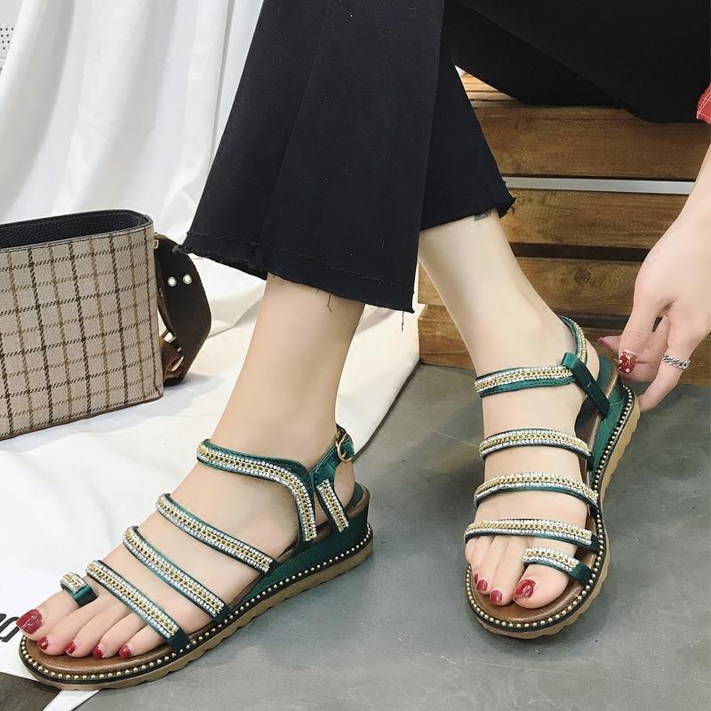 Women Sandals Open Toe Mid Heels Rhinestone Sandals Shoes