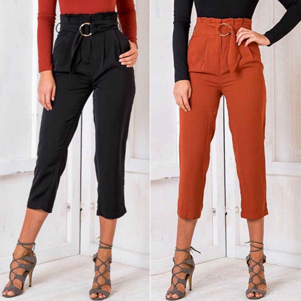 2019 новый стиль женские весенне-летние шаровары ремень брюки свободный спортивный костюм мешковатые брюки комбинезоны брюки с поясом Твердые