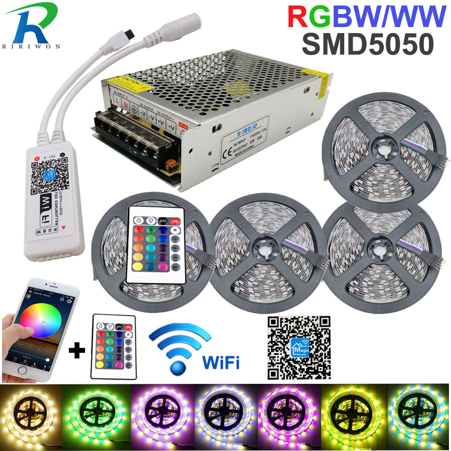 5050 RGBW/WW LED lumière de bande WIFI contrôleur néon lampe 20 M rayures décor bande Flexible tira fita Diode ruban DC 12 V adaptateur ensemble