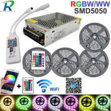 5050 RGBW/WW LED ストリップライト無線 Lan コントローラネオンランプ 20 M ストライプの装飾柔軟なテープティラフィッタダイオードリボン DC 12 V アダプタセット