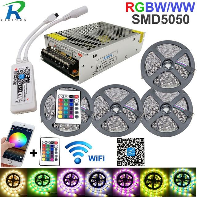 5050 RGBW/WW LED Strip Licht WIFI Controller Neon Lamp 20 M Strepen Decor Flexibele Tape tira fita Diode lint DC 12 V Adapter Set