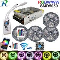 5050 rgbw/ww led 스트립 빛 wifi 컨트롤러 네온 램프 20 m 줄무늬 장식 유연한 테이프 tira fita 다이오드 리본 dc 12 v 어댑터 세트