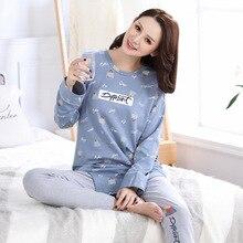 Winter pajama set for woman cotton Lovely cartoon Homewear suit Can wear outside pullover printing warm pijama women sleepwear