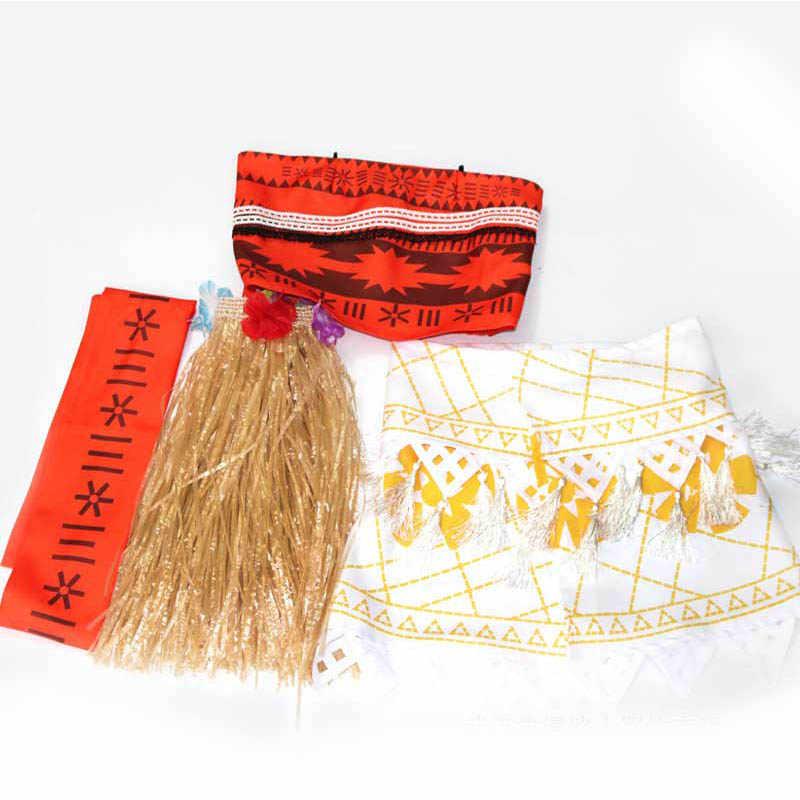 Взрослые дети принцесса ваяна Моана костюм платья с necklace ем парик Женщины Девушки Хэллоуин вечерние Моана платье костюмы косплей