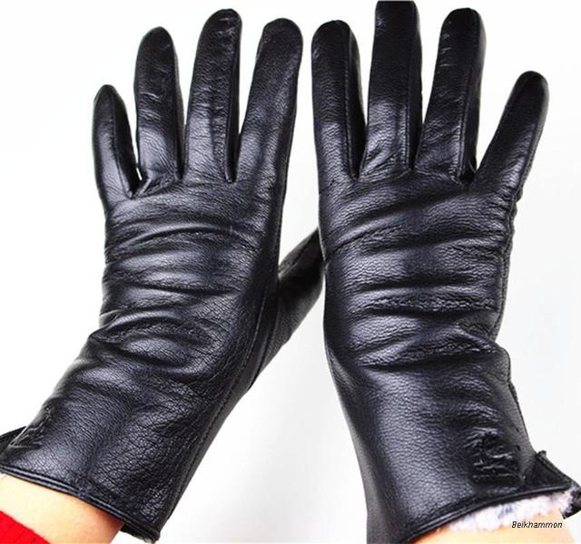 2016 The new female leather gloves deerskin straight gloves soft and delicate velvet lining autumn and winter weatherization