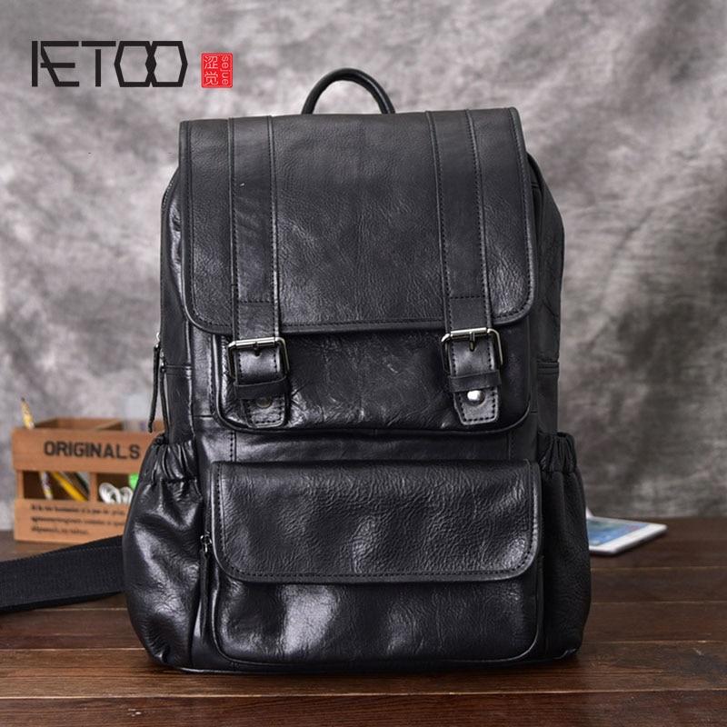 AETOO sac à dos en cuir de cheval fou pour hommes multifonctionnel en cuir véritable 14 sac à dos pour ordinateur portable en cuir de vache sacs d'école à bandoulière - 1