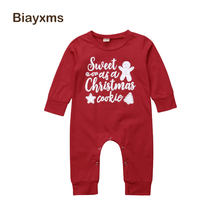 Baby 1st Christmas Newborn Infant Baby Boy Girl Letter Long Sleeve Romper Cotton Xmas Baby Clothes D15(China)