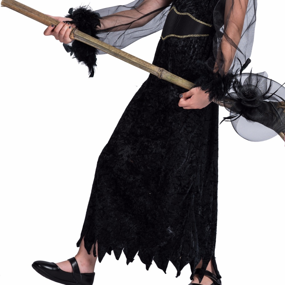 Kids Funny Kostymer Klänning och Hat Set Feather Witch Black - Maskeradkläder och utklädnad - Foto 5