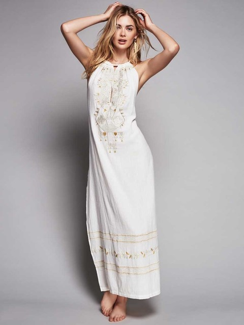 1ec7c14021c51 US $38.13 5% OFF|2016 Europe style embroidery long backless party dress  women's elegant summer dresses white color maxi dress holiday hobo dress-in  ...
