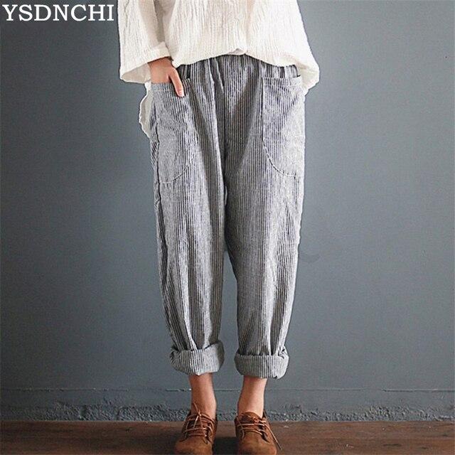 7688d15a93d YSDNCHI 2018 Spring Women Casual Solid Cotton Linen Baggy Long Pants Vintage  Elastic Waist Turnip Pencil Trousers Harem Pantalon