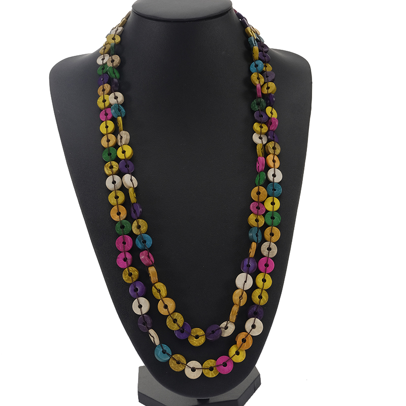 2018 Vintage colorful Beaded Necklace round handmade Coconut Shell Necklace For women Tribal Jewelry Best Friend Gift