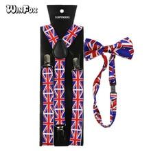 Winfox Vintage Navy Red British Flag Style 2.5cm Wide Suspenders Bowtie Set Women Men Suspenders Braces Bow Tie