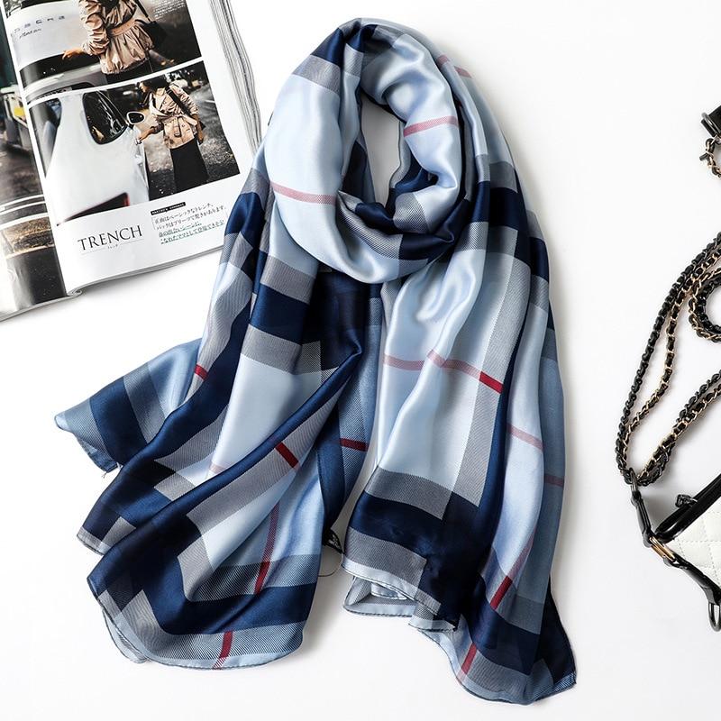 2019 New silk   scarf   classic plaid shawls and   wraps   high quality soft pashmina ladies winter neck   scarves   hijab foulard femme