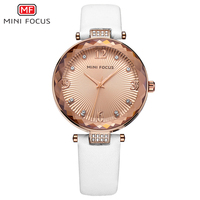 MINI FOCUS Diamonds White Leather Women Watches Ladies Brand Luxury Female Quartz Watch Women Wristwatch Girl