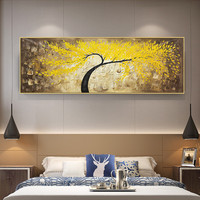 Tree oil painting Wall Art Pictures for living room quadro caudro Decor yellow texture Original Acrylic palette knife painting