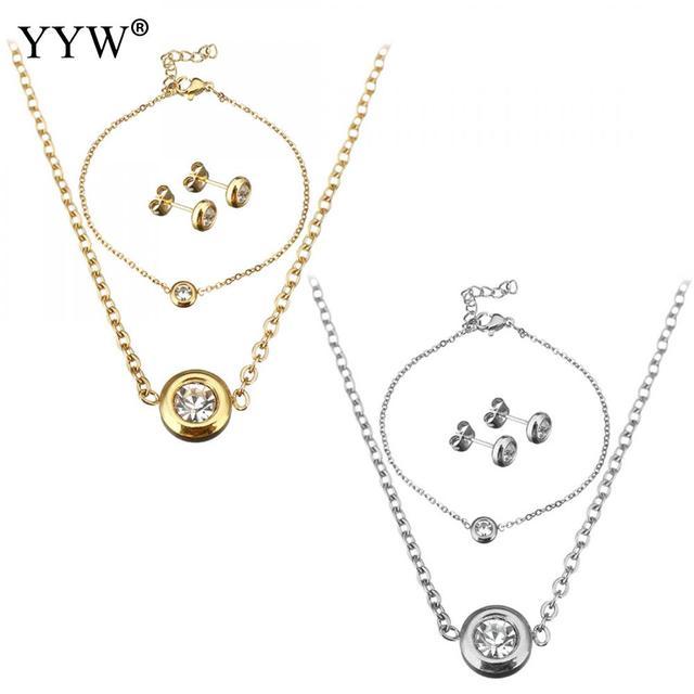 אופנה נירוסטה תכשיטי סטי מקסים צמיד & עגיל & שרשרת עם 2 אינץ 1 אינץ Extender שרשרת