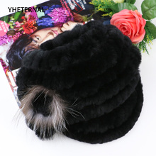 Winter Rex Rabbit Adult Fur Hat For Women With Fox Pom Poms Top Knitted Beanies Hats 2018 New Brand Causal Good Quality Visors maylooks winter beanies fur hat for women knitted rex raccoon fur hat with fox fur flower top free size casual women s hat