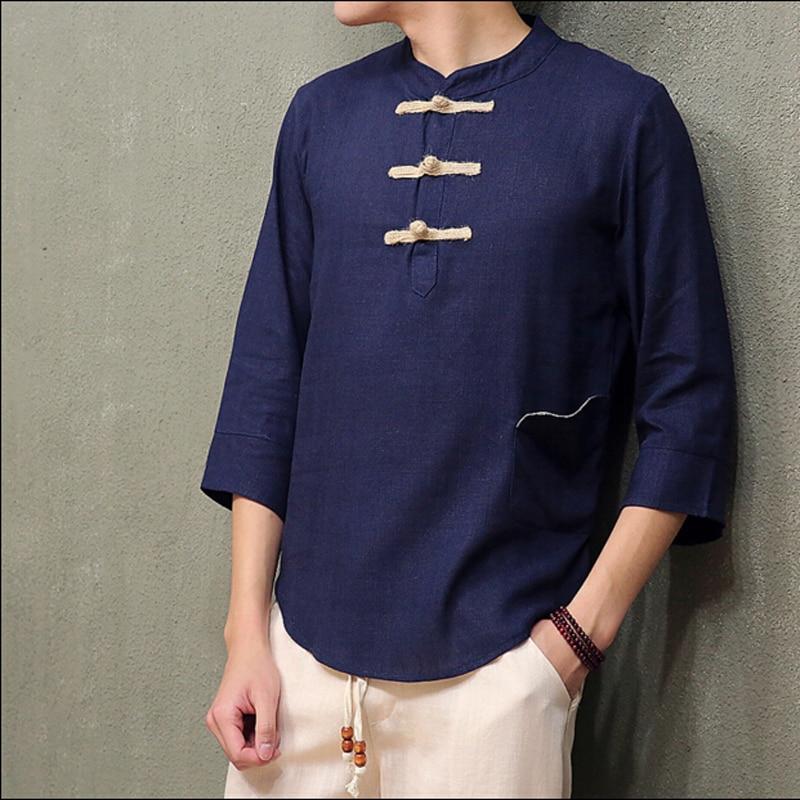 Style National chinois hommes trois quarts manches lin t-shirt mâle lâche et grande taille linge chemises 2 couleurs M-5XL