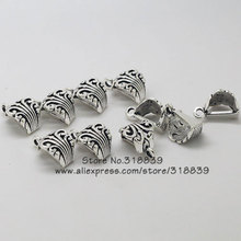 50pcs/lot 8*12*17mm Vintage Silver Metal Alloy Pendant Clips & Pendant Clasps Findings For Necklace Pendants Makings 8119(China)
